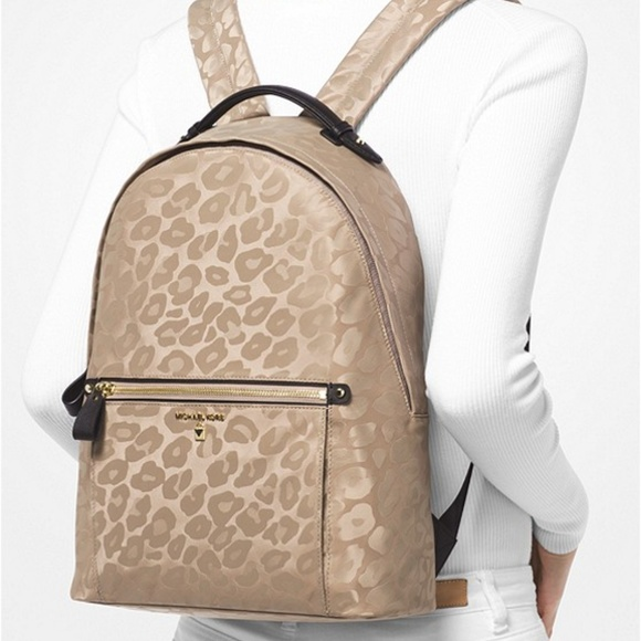 MICHAEL KORS Kelsey Large Leopard Nylon Backpack 29faeeff4ed02